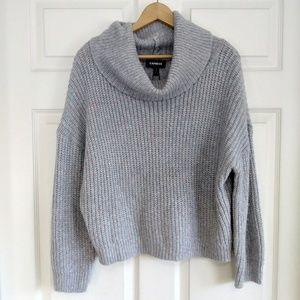 Express gray shiny knit turtleneck sweater
